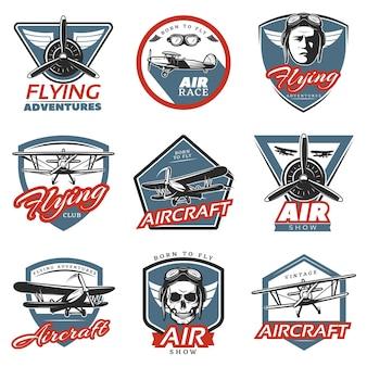 Vintage kleurrijke vliegtuigen logo's