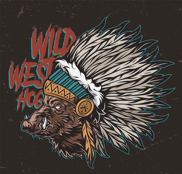 Vintage kleurrijke wilde westen concept