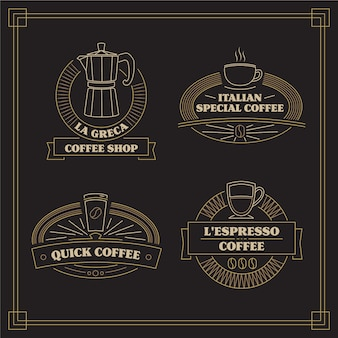 Vintage koffie logo collectie