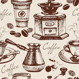 Vintage koffie naadloze patroon. handgetekende illustratie