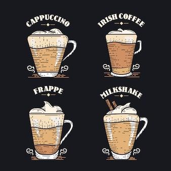 Vintage koffie soorten concept