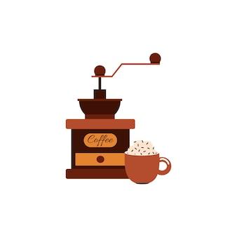 Vintage koffiebonen grinder en kopje warme drank cartoon vectorillustratie