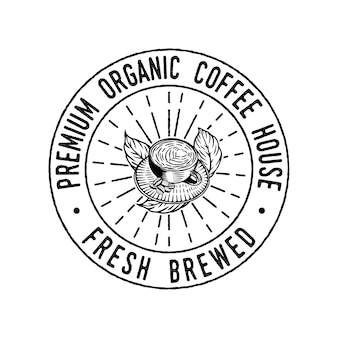 Vintage koffiekopje hand getrokken embleem badge