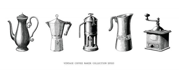 Vintage koffiezetapparaat collectie hand tekenen zwart en wit