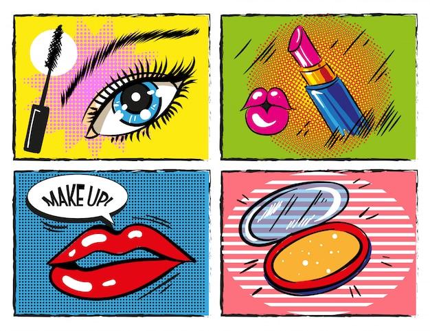 Vintage komische pop-artmake-up en cosmetische elementen