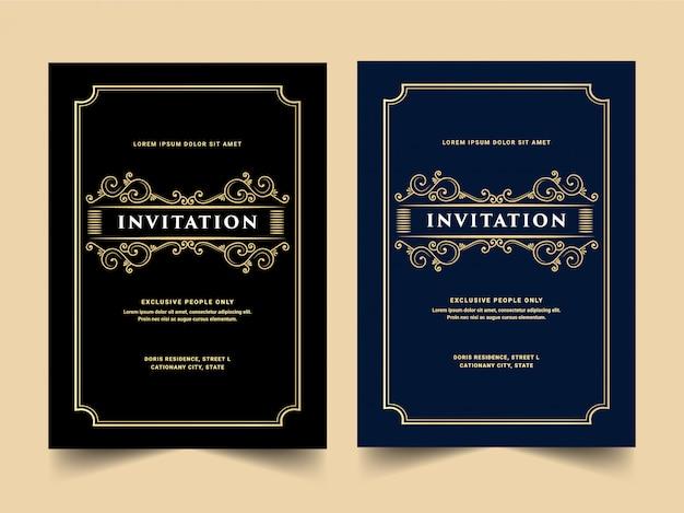 Vintage koninklijke en luxe set uitnodigingskaart voor huwelijksverjaardag