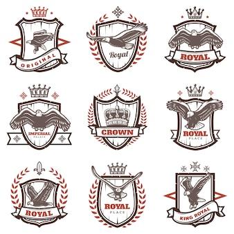 Vintage koninklijke wapenschilden set