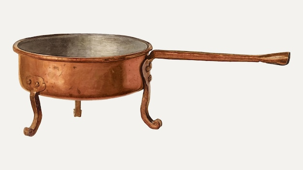 Vintage koperen koekenpan illustratie vector, geremixt van het kunstwerk door bisby finley