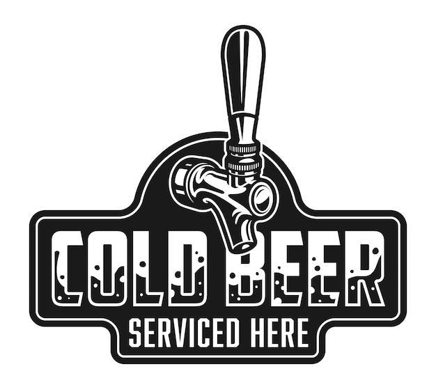 Vintage koud bier logo sjabloon