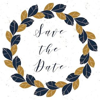 Vintage krans van bladeren in diepblauwe en bronzen kleuren op grunge achtergrond. trendy sjabloon voor uitnodigingen, wenskaarten, posters en meer.