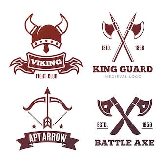 Vintage krijger emblemen. viking, ridder, koning middeleeuwse labels