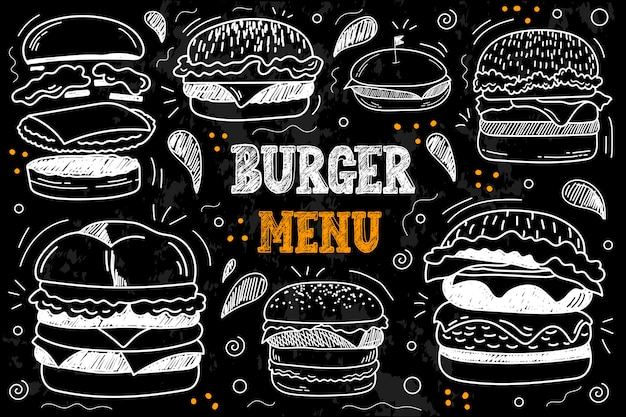 Vintage krijt tekening fastfood menu. vector set van fastfood. hamburger, cheeseburger, vleeskotelet, mosterd, tomaat, kaas, ui