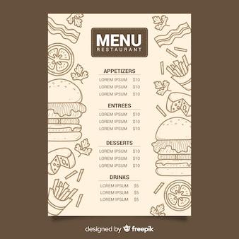 Vintage krijt tekening menu voor restaurant