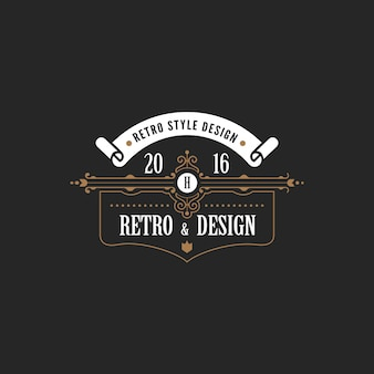 Vintage label badge logo vector icoon.