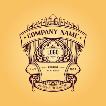 Vintage label badge premium retro logo ontwerp
