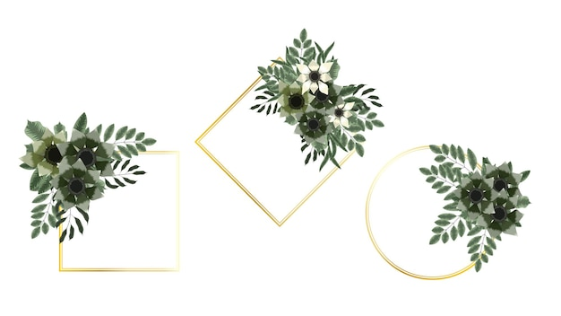 Vintage label bloemen frames in gedetailleerde stijl uitnodigingen verkoop advertenties