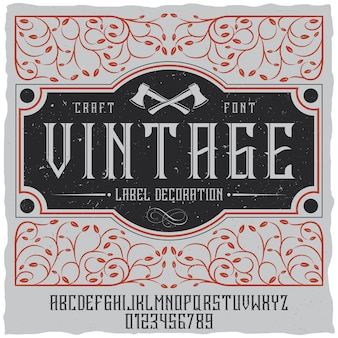 Vintage label decoratie poster met maaswerk op veld en vintage lettertype