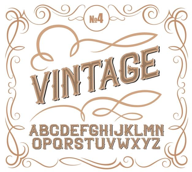 Vintage label lettertype alcogol labelstijl