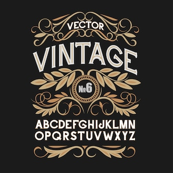Vintage label lettertype. alcohol label stijl.
