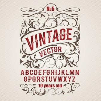 Vintage label lettertype alcohol labelstijl