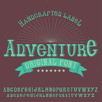Vintage label lettertype genaamd avontuur.