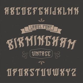 Vintage label lettertype genaamd birmingham.