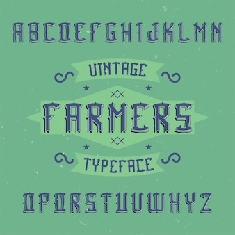 Vintage label lettertype genaamd boeren