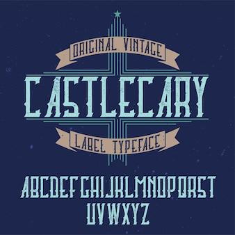 Vintage label lettertype genaamd castlecary.