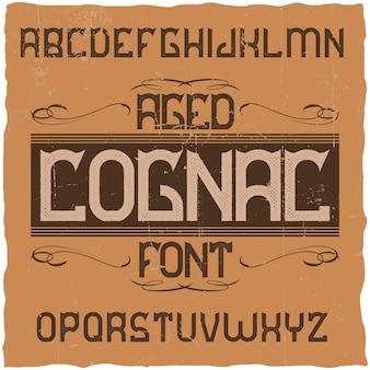 Vintage label lettertype genaamd cognac