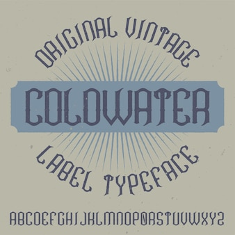 Vintage label lettertype genaamd coldwater.