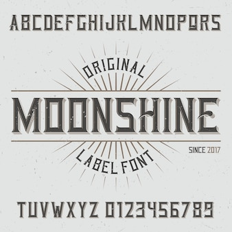 Vintage label lettertype genaamd moonshine