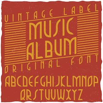 Vintage label lettertype genaamd music album