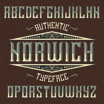Vintage label lettertype genaamd norwich