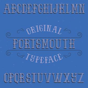 Vintage label lettertype genaamd portsmouth.