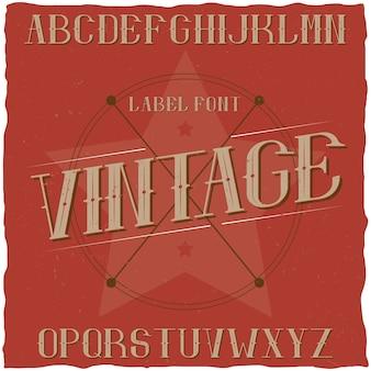 Vintage label lettertype genaamd premium beer.