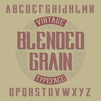 Vintage label lettertype genaamd reading.