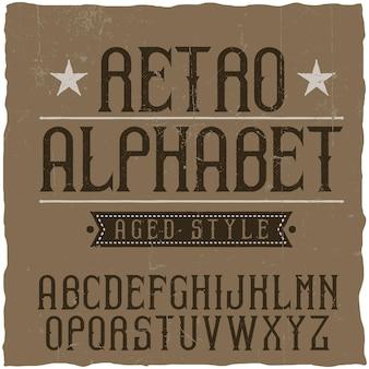 Vintage label lettertype genaamd retro alfabet.