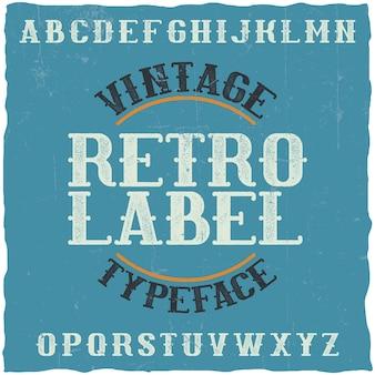 Vintage label lettertype genaamd retro label. goed lettertype om te gebruiken in vintage labels of logo.