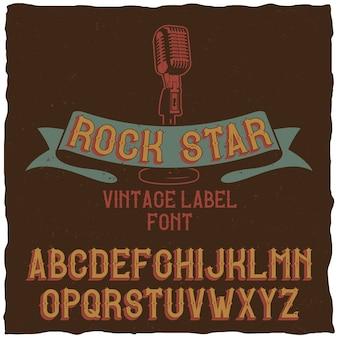 Vintage label lettertype genaamd rock star.