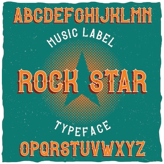 Vintage label lettertype genaamd rock star.