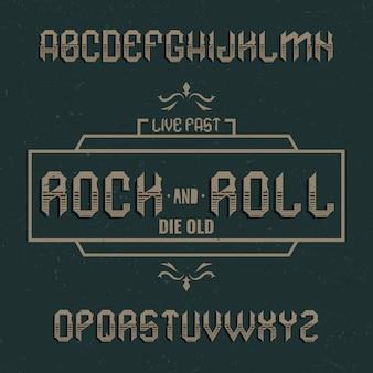 Vintage label lettertype genaamd rockandroll.