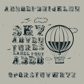 Vintage label lettertype genaamd sky adventures