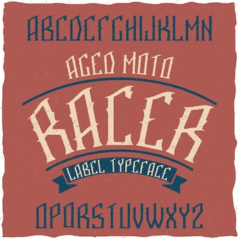 Vintage label lettertype genaamd stone.
