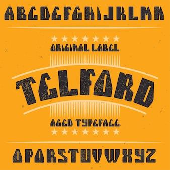 Vintage label lettertype genaamd telford.