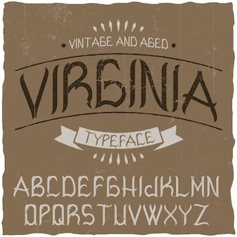 Vintage label lettertype genaamd virginia