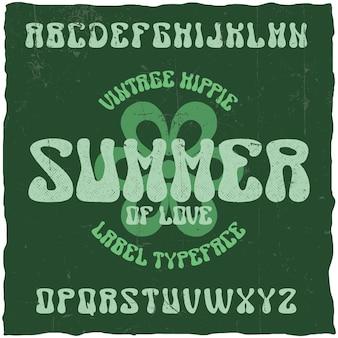 Vintage label lettertype genaamd zomer