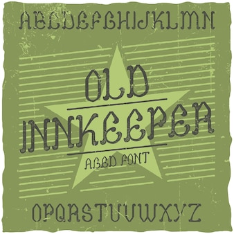 Vintage label lettertype met de naam herbergier