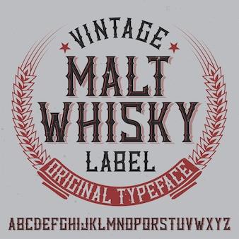 Vintage label lettertype met de naam malt whiskyy