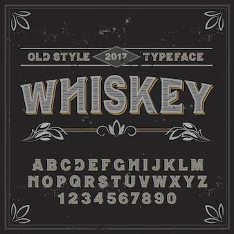 Vintage label lettertype met de naam whiskey. goed handgemaakt lettertype voor elk labelontwerp.