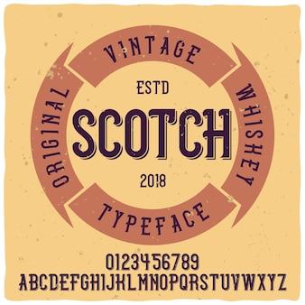 Vintage label lettertype met de naam whiskey. goed handgemaakt lettertype.